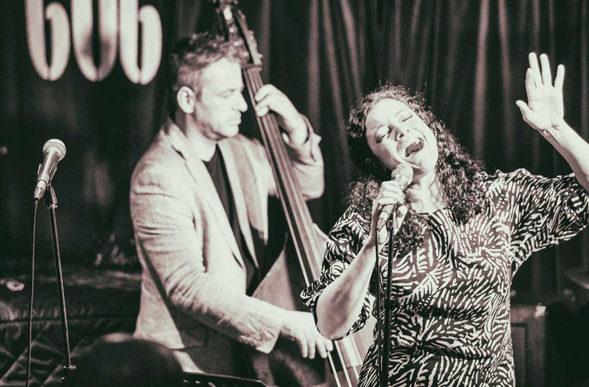 Johanna Graham and Martin Bowie performing live.